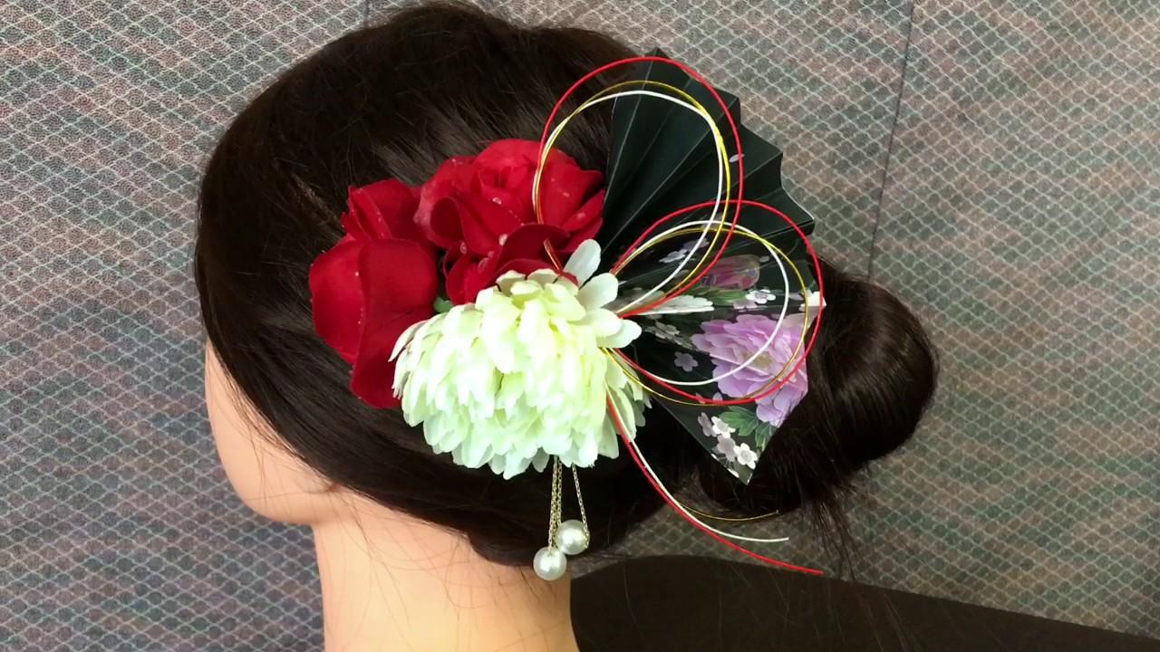 100均 アイテムだけで DIY 浴衣 着物の髪飾りの作り方 How tomake kanzashi 髪飾りハンドメイド