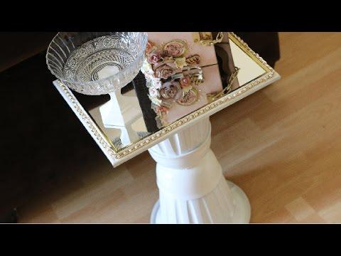 Diy dollar tree mirror table youtube for Dollar store mirror craft