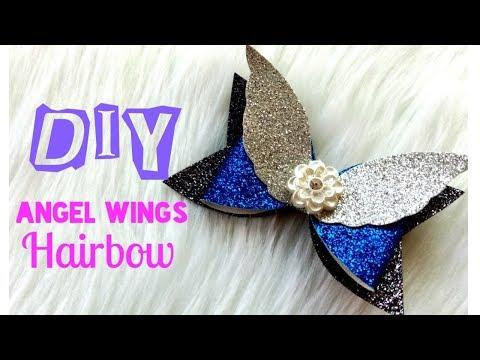 How to make Angel Wings Glitter Hairbow DIY    Easy Tutorial