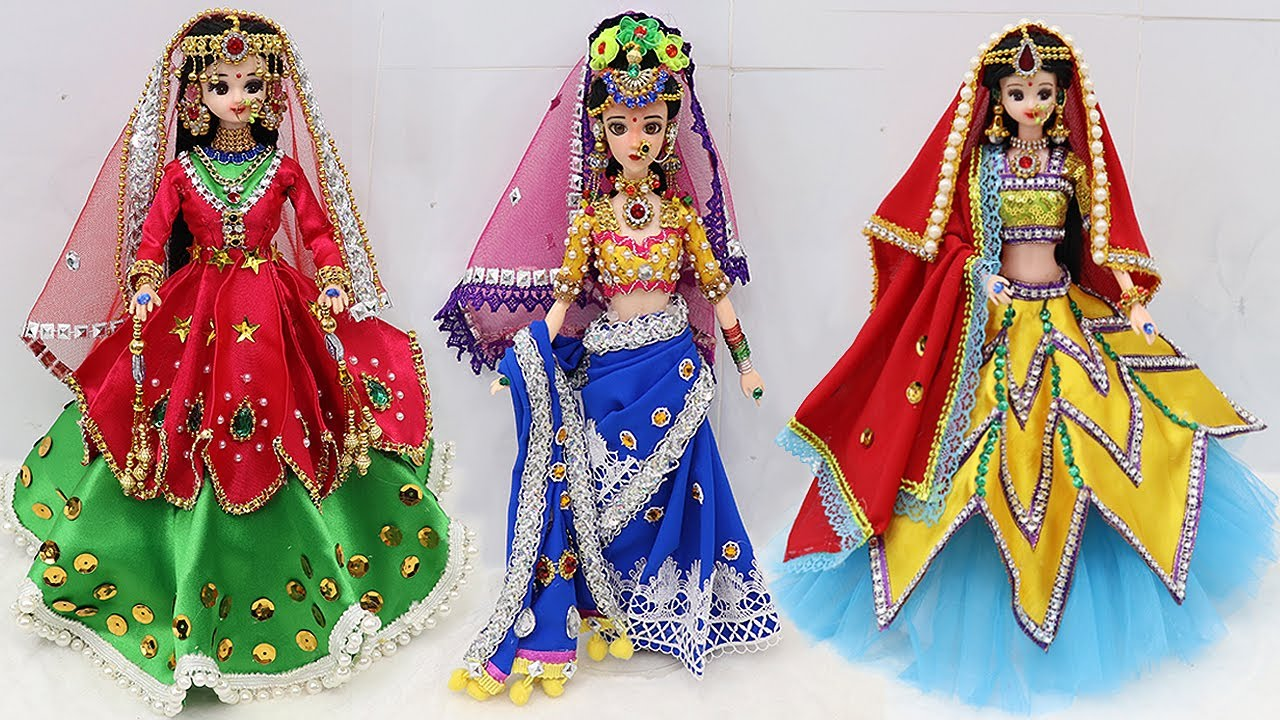 3 South indian bridal dress and Jewellery | 3 Doll decortion ideas |41
