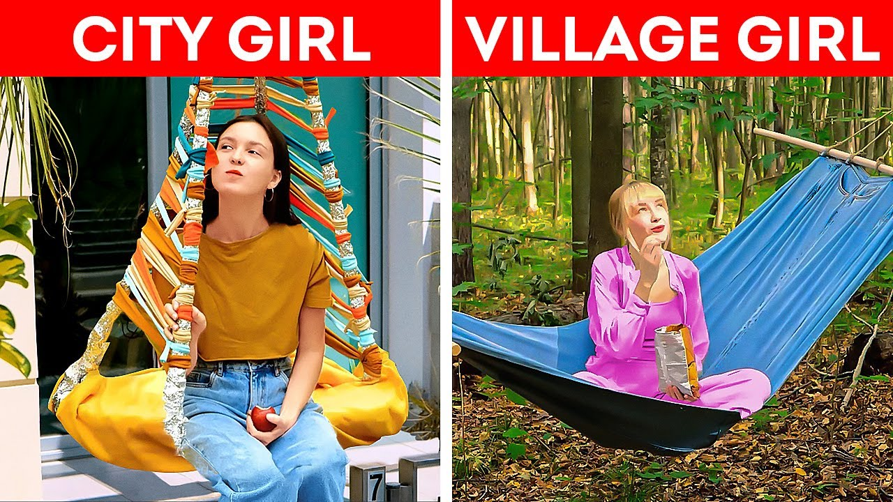 City Girl VS Village Girl    Genius Camping Hacks And Crafts For Everyone