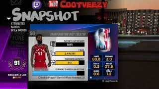 IMA GAWD!!!! 91 Overall Sharpshooting Shot Creator Badges Stats and Rewards!! NBA 2k19