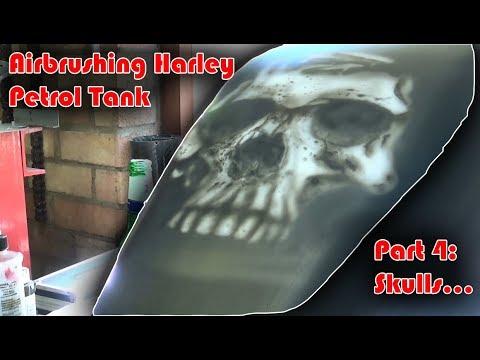 How to paint Harley Davidson Petrol Tank, Part4 - Airbrushing Skulls