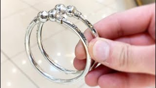 😨 Amazing! Making Pipe Silver Bangles! Pipe Kara Silver Jewelry Making   How it's made   4K Video