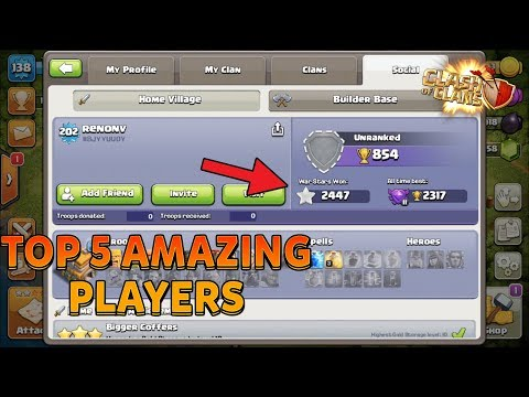 TOP 5 AMAZING PLAYERS In Clash Of Clans (Hindi) 🇮🇳