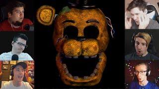 """""""Реакции Летсплейщиков"""" на Скример Золотого Фредди из FNAF 7"""