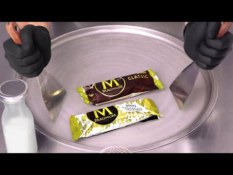 How to make Ice Cream out of Ice Cream | Magnum Popsicles become delicious Ice Cream Rolls – ASMR