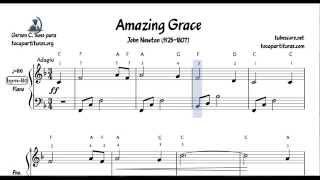 Amazing Grace Easy Sheet Music for Piano Beginners