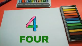 HOW TO DRAW FOUR 4 FOR KIDS STEP BY STEP l DRAWING FOUR EASY