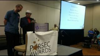 Sylvester McCoy and Tom Merritt at the 2013 Parsec Awards