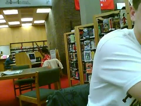 crazy woman in the library