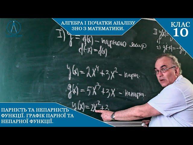 10 клас. Алгебра. ПАРНІСТЬ та НЕПАРНІСТЬ функції. Графік парної та непарної функції.
