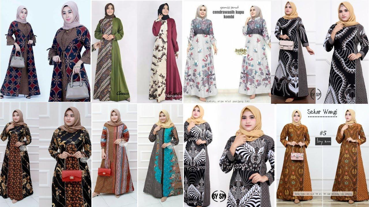 11 Model Gamis Batik Kombinasi Terbaru Dan Terlaris. - YouTube