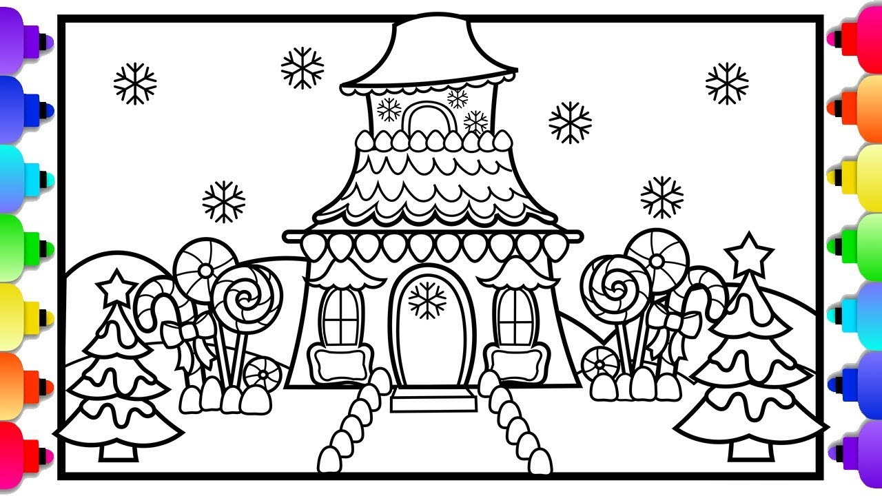 Learn to Draw a Candy House |💚🎄💚 Christmas Coloring Pages ...