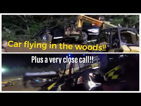 A lot Of Close Calls!!! Car goes flying in the woods plus multiple wrecks!! Crowley's Ridge Raceway