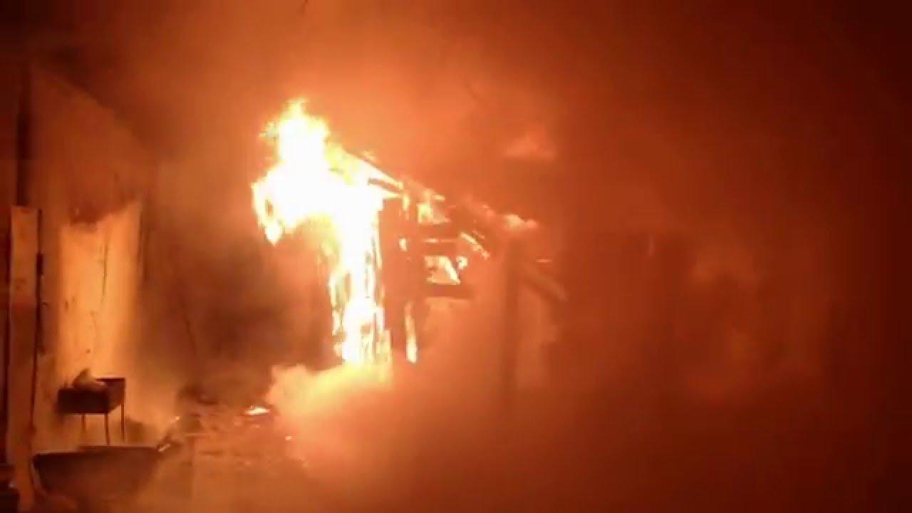 Пожар в Александровке, Ильичёвск 02.01.2016 года - YouTube