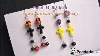 PandaHall Видеоурок по хэллоуинским Серьги черепа