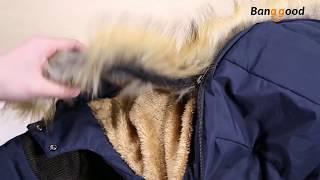 Mens Thick Fleece Warm Hooded Fur Winter Outwear Jacket Outdoor Casual Shoulder Splices Padded Coat