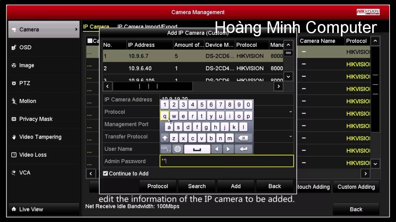 Thêm Camera IP vào đầu ghi HIKVision
