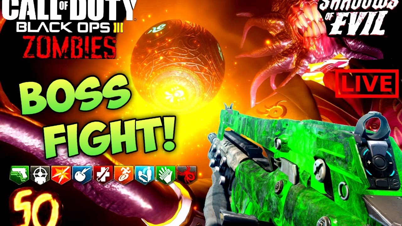 SHADOWS OF EVIL ROUND 50 BOSS FIGHT! - BLACK OPS 3 ZOMBIES EASTER EGG SOLO  Bo3 Gameplay w/ Ch0pper