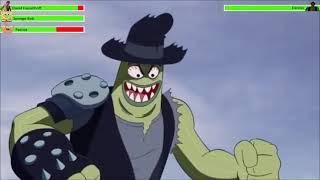 Sponge Bob, Patrick vs Dennis with healthbars