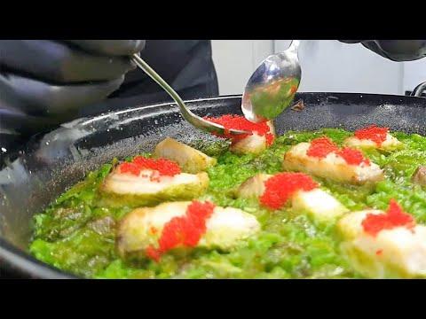 Sabrosa receta de arroz verde con corvina, algas marinas y caviar