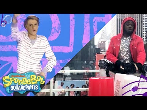 Jace Norman, Riele Downs & More Sing The SpongeBob Theme 🎵 Bucket Drum Style! | #MusicMonday