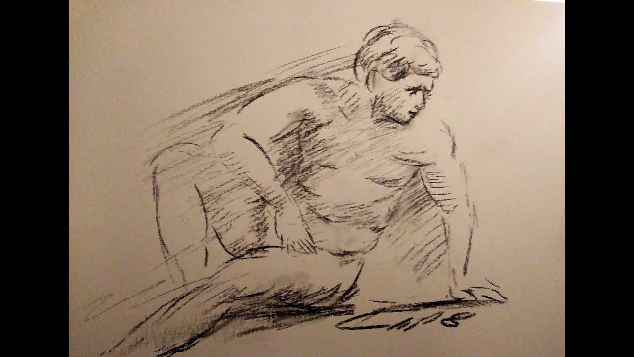 comment dessiner un homme d'après modèle vivant sur une pose de 5mn