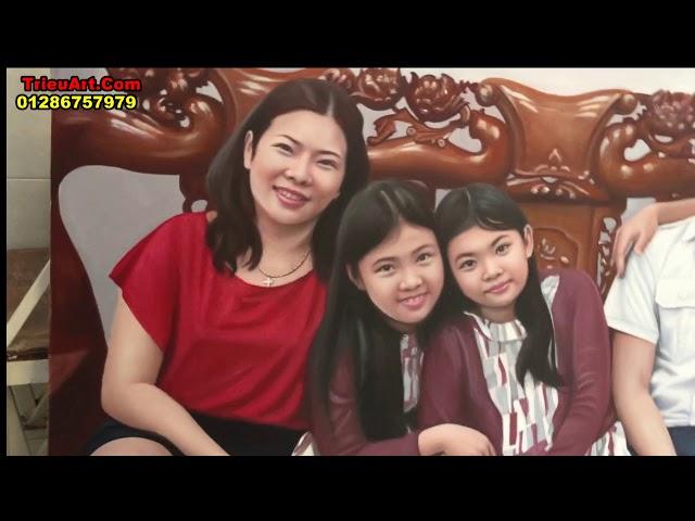 Tranh chân dung sơn dầu, vẽ chân dung gia đình theo yêu cầu ĐT: 01286757979
