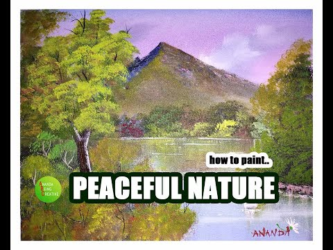 How To Paint/Peaceful Nature/Landscapes/Acrylic Painting Tutorials/Beginners/English Subtitles/Music