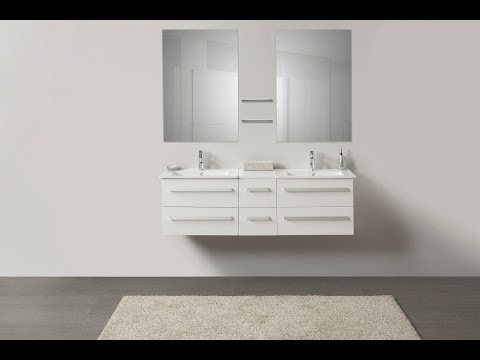 Beliani Modern Bathroom Furniture white - with Wash Basins - MADRID - Eng