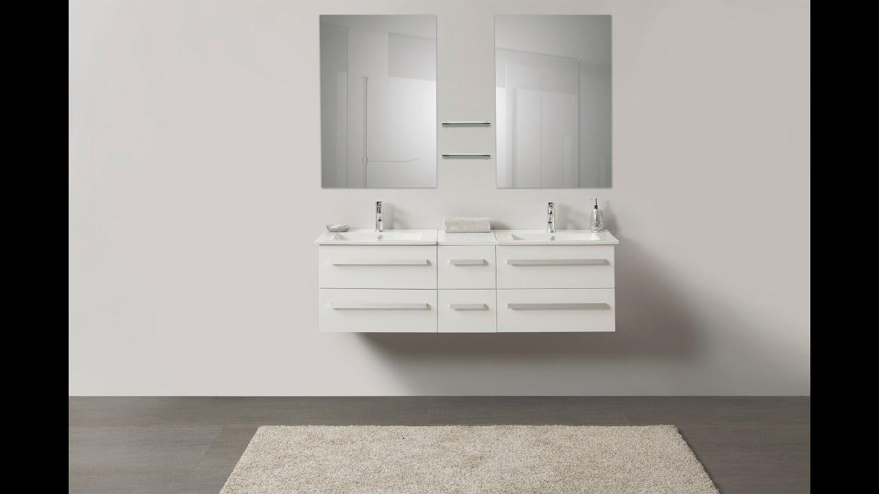 Beliani modern malaga bathroom vanity with sink cabinets and mirrors - Beliani Modern Bathroom Furniture White With Wash Basins Madrid Eng Youtube