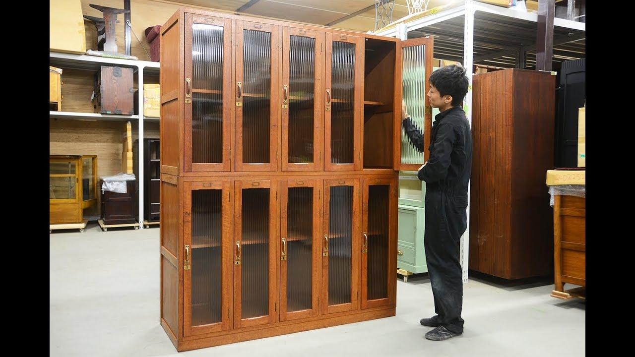 「昔なつかしいレトロな木製ロッカー」 日本のアンティーク ...