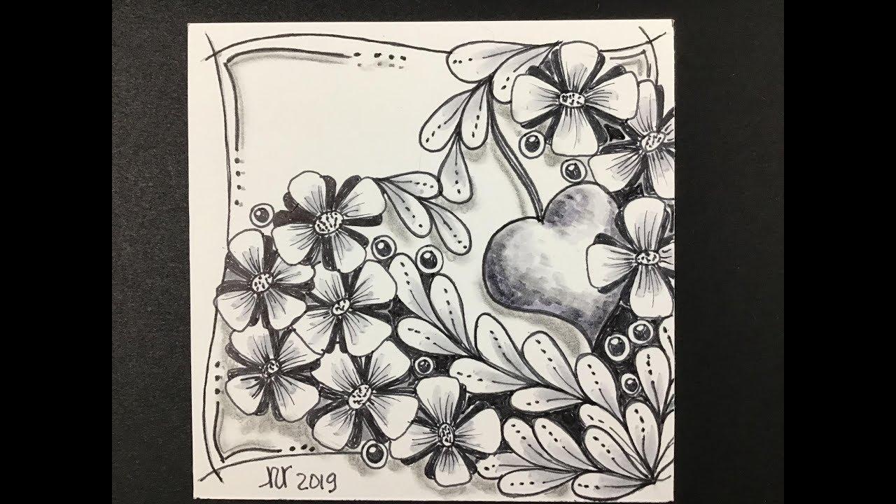 Easy zentangle , Meditative Valentine art , Hearts and flowers.