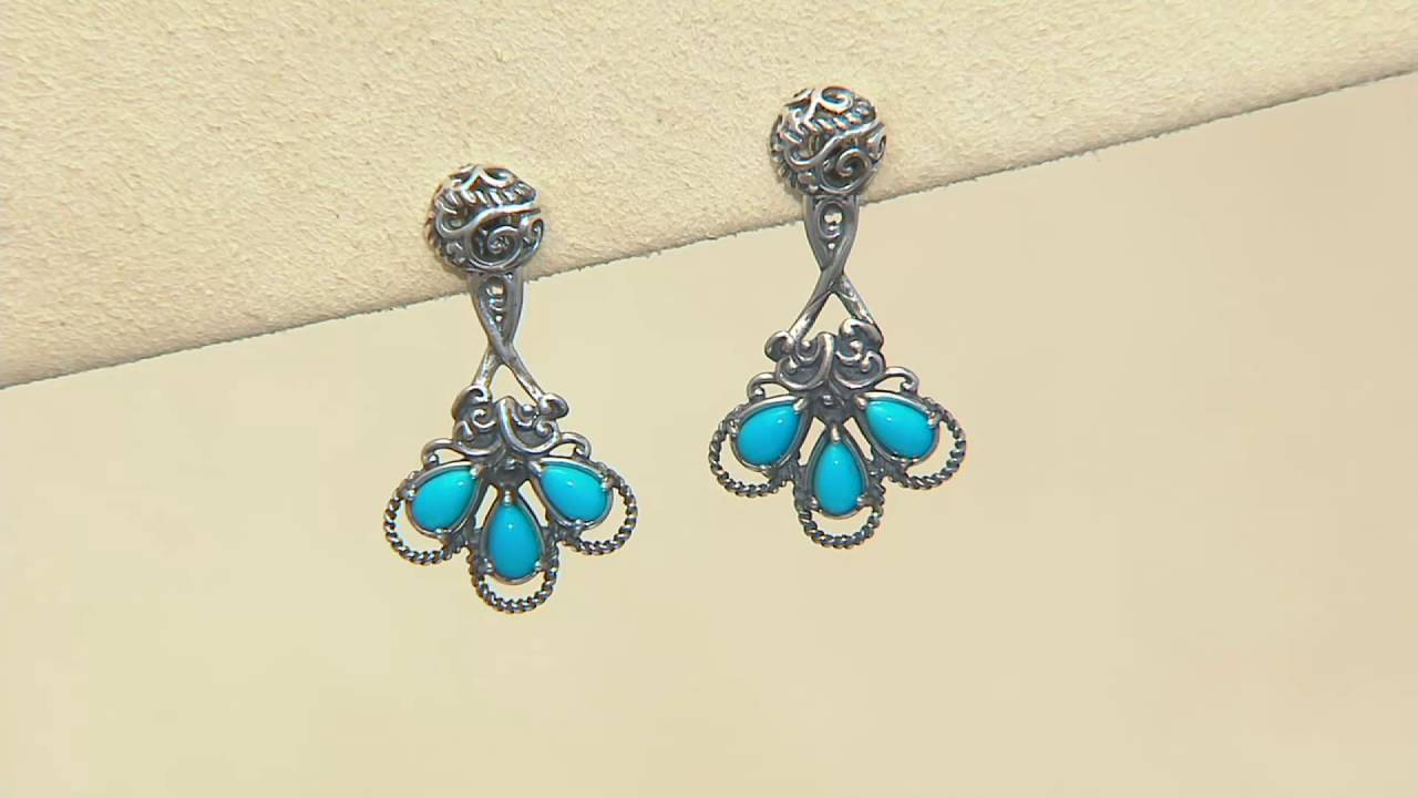 Carolyn Pollack Sterling Silver Sleeping Beauty Turquoise Earring Jackets  On Qvc