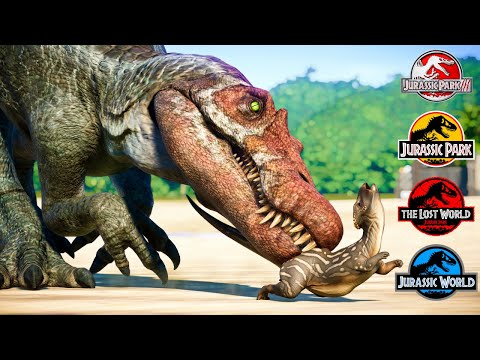 All JWE Dinosaurs With Jurassic Park And Jurassic World Movie Accurate Canon Sound Effects