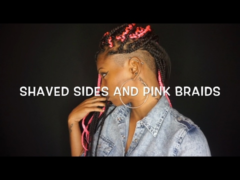 HAIR: SHAVED SIDES AND PINK BRAIDS