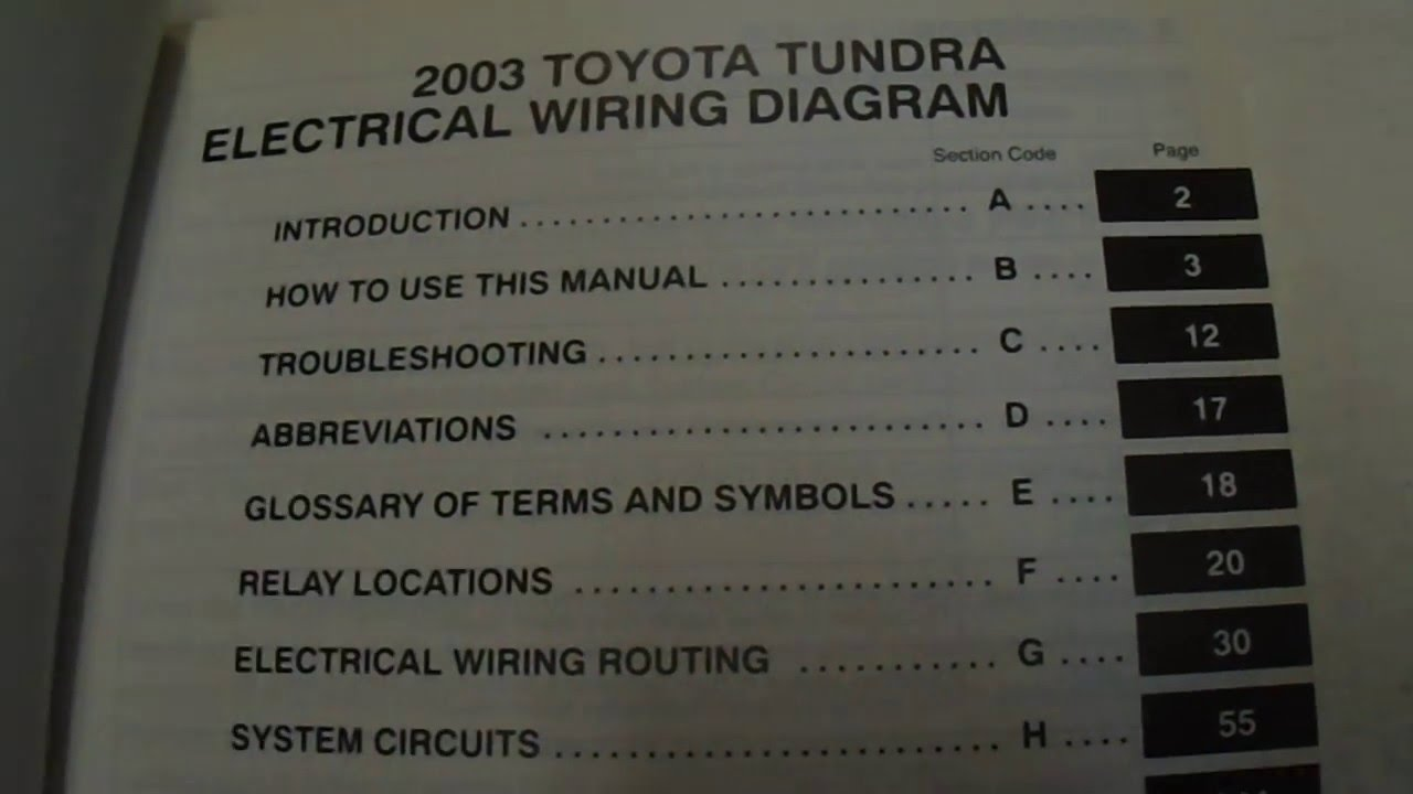 2003 Toyota Tundra Electrical Wiring Diagrams Manual