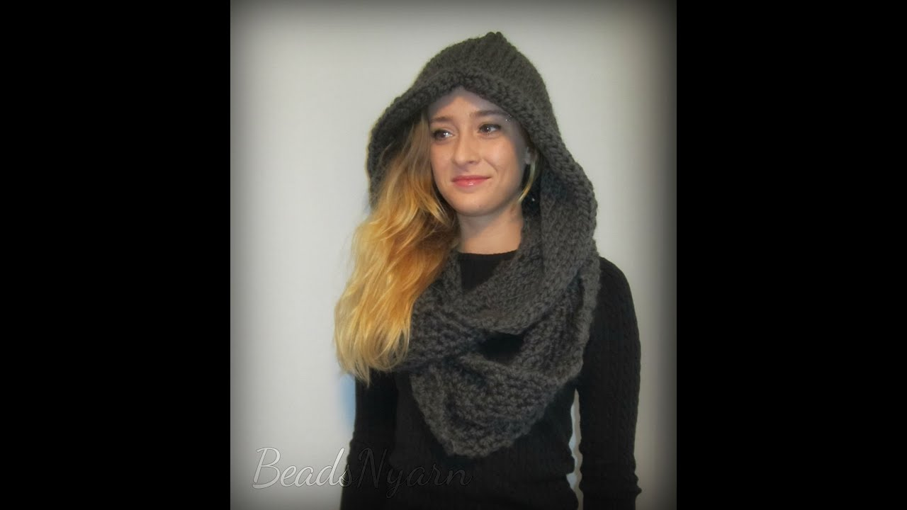 Knit Cowl Hood Pattern Free : Knitted Hooded Cowl - Over-sized and slouchy - YouTube