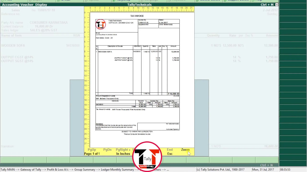 tally erp 9 gst invoice company logo printing tutorial - Invoice Printing