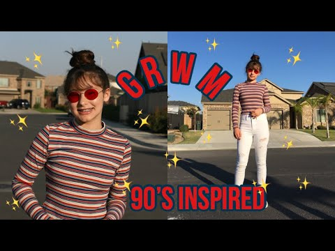 90's Inspired Hair Makeup & Outfit | GRWM