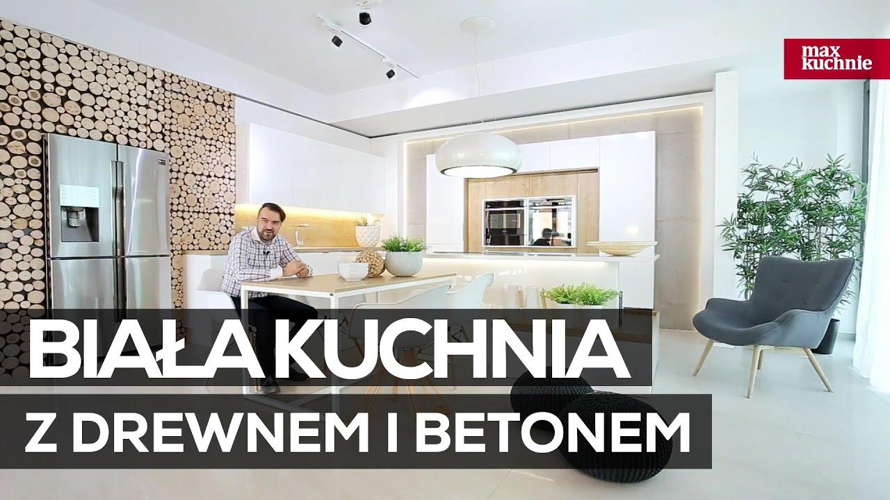 Biała Kuchnia Z Drewnem I Betonem Studio Max Kuchnie Vigo Bielsko Biała