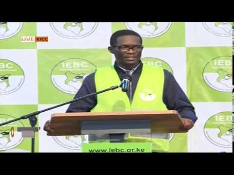 IEBC CEO Ezra Chiloba updating on the progress of the tallying at Bomas Kenya