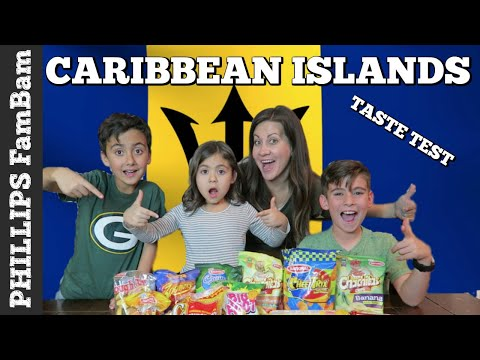 CARIBBEAN FOOD TASTE TEST | AMERICANS TRY BARBADOS SNACKS & FOOD | PHILLIPS FamBam Taste Tests