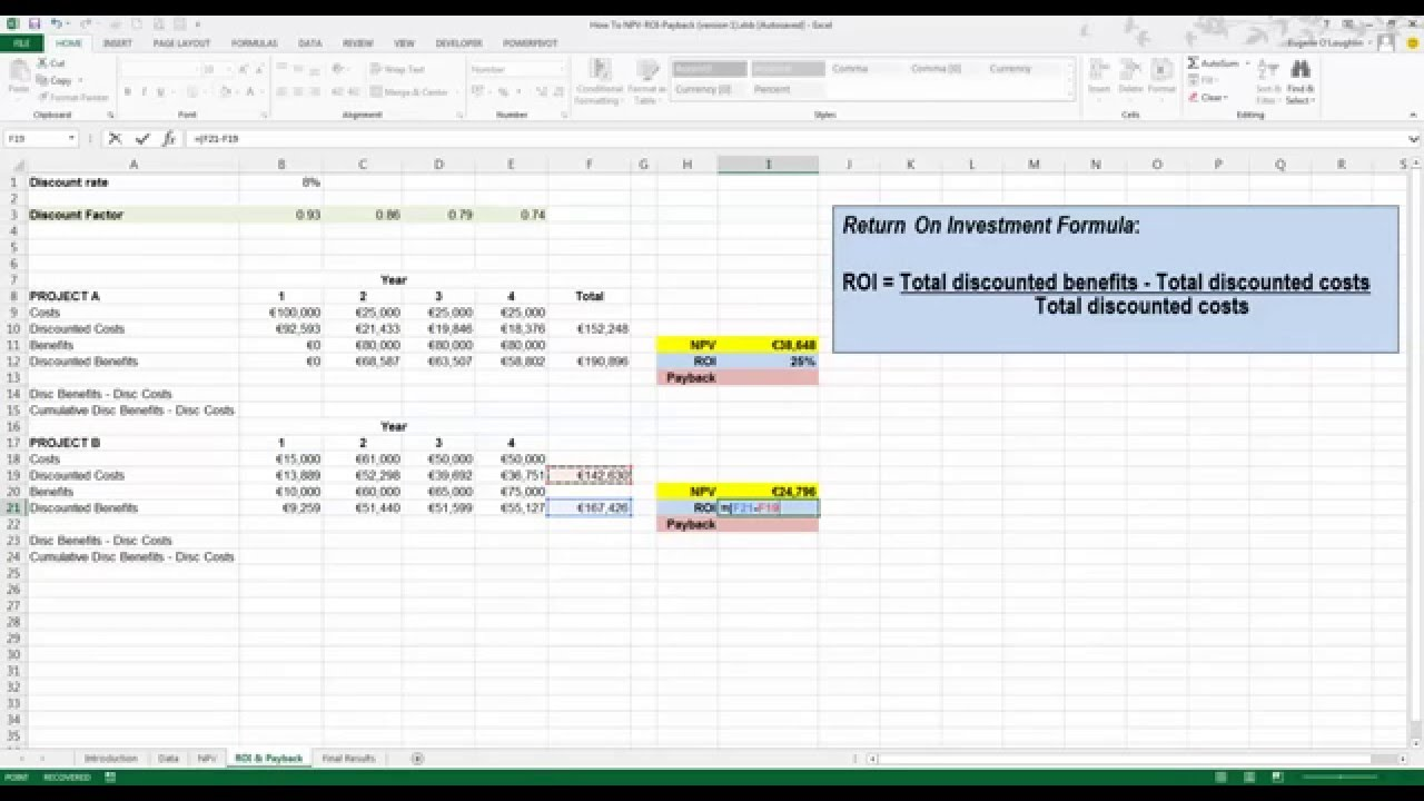 How To Calculate ROI And Payback In Excel 2013 YouTube
