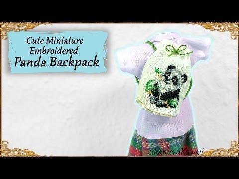 Cute Miniature Panda Backpack - Embroidery Doll Tutorial
