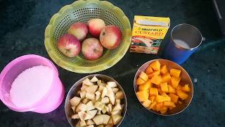 Fruits custard/Fruit breakfast/fruits juice/Homemade fruits custard/
