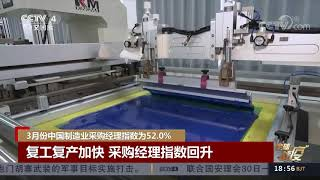 [中国新闻]3月份中国制造业采购经理指数为52.0%| CCTV中文国际
