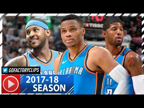 Russell Westbrook, Carmelo Anthony & Paul George BIG 3 Highlights vs Jazz (2017.10.21) - 54 Pts