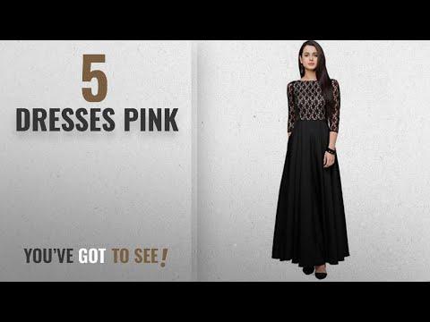 Top 10 Dresses Pink [2018]: Women's Black & Light Pink Maxi Black Dress